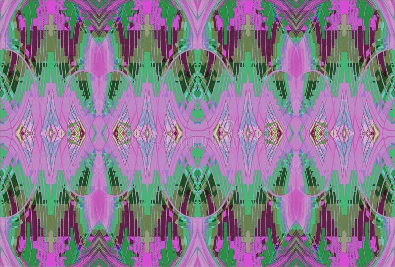 Regelmatig sierpatroon groen viooltje en purple horizontaal vector illustratie