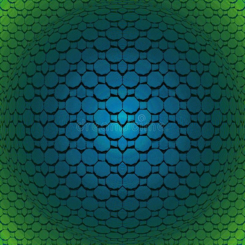 Regelmatige achthoekenzeshoeken en vierkante patroon turkooise blauwe en donkergroene convex en het glanzen vector illustratie