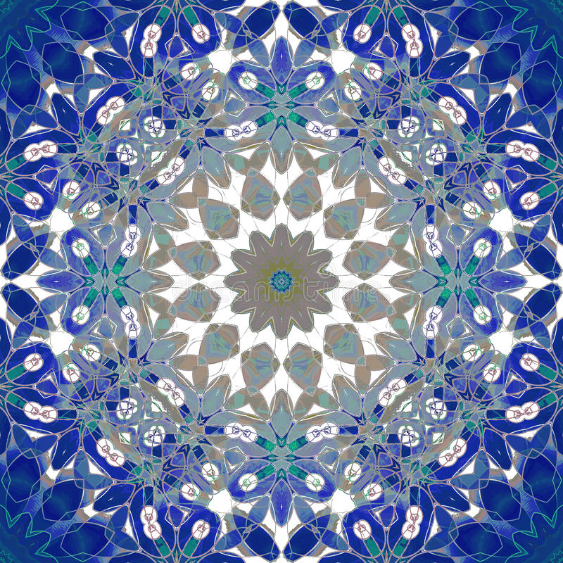 Regelmatige ronde bloemenornament donkerblauwe, blauwe grijs, bruin en wit, overladen en dromerig stock illustratie