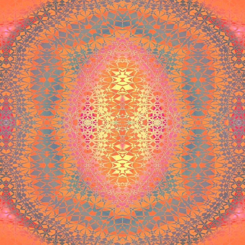 Regelmatige symmetrische gecentreerd ornament oranje grijze purpere roze viooltje en geel royalty-vrije illustratie
