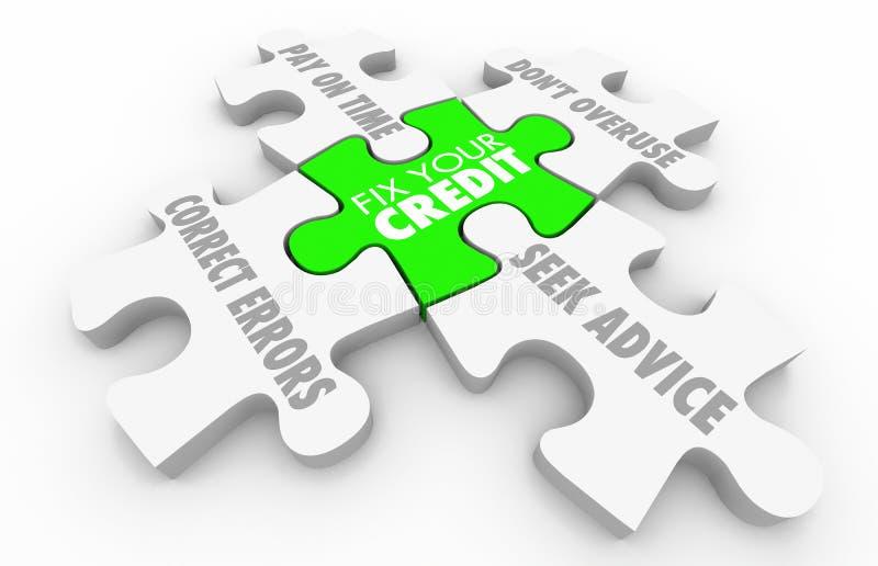 Regeln Sie Ihre Kredit-Schritte verbessern Ergebnis-Bewertungs-Puzzlespiel lizenzfreie abbildung