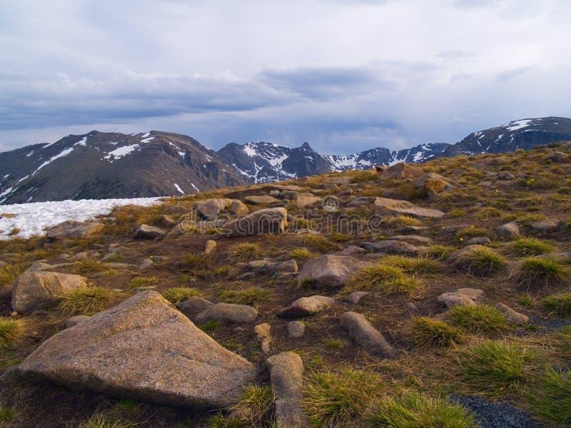 Regen über alpiner Tundra stockbild