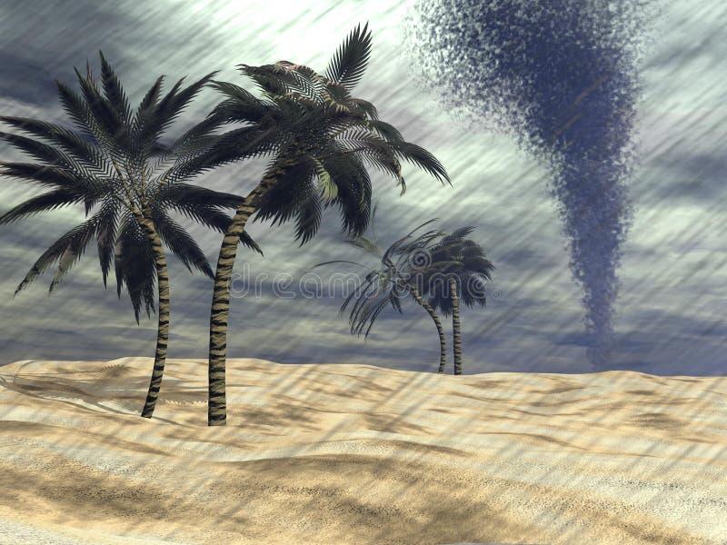 Regen bij het 3D strand - geef terug vector illustratie