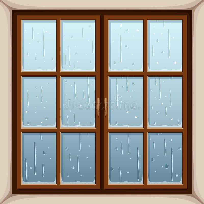 Regen buiten het venster Vector illustratie royalty-vrije illustratie