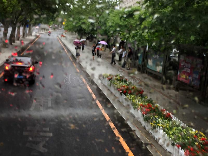 Regen Dalian China stock foto's