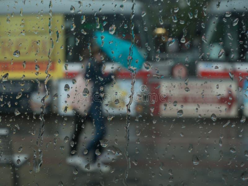 Regen en mensen met paraplu stock foto's