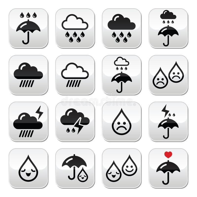 Regen, onweersbui, zware geplaatste wolken vectorknopen royalty-vrije illustratie