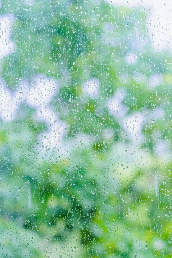 Regen op het glas stock fotografie