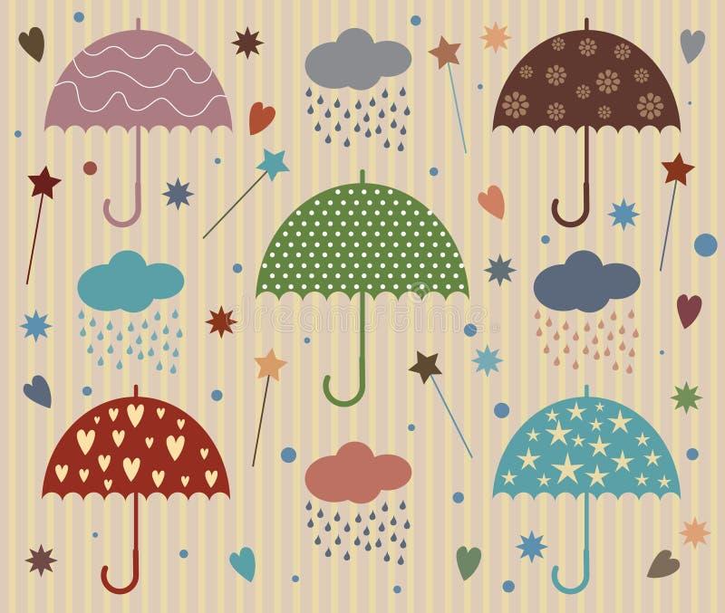 Regen-Regenschirm-Vektor mit Stern und Herzen stock abbildung