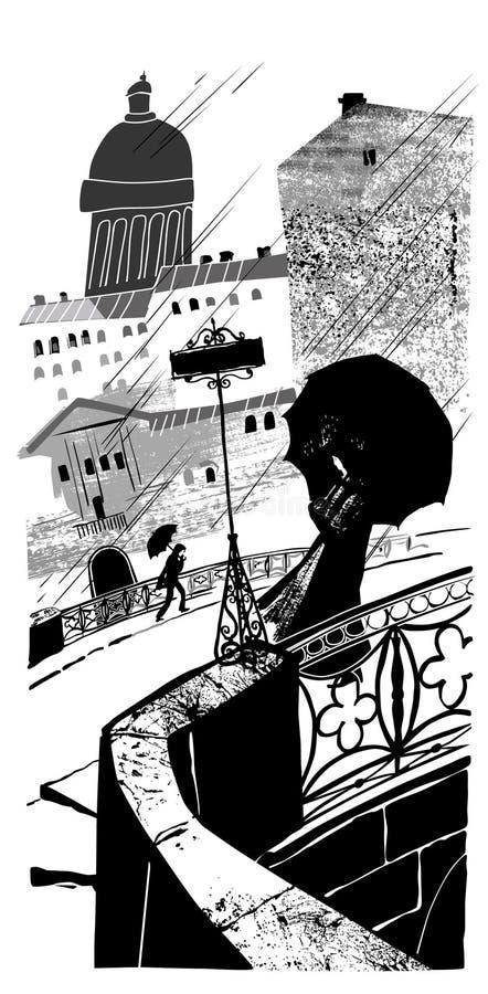 Regen in stad. royalty-vrije illustratie