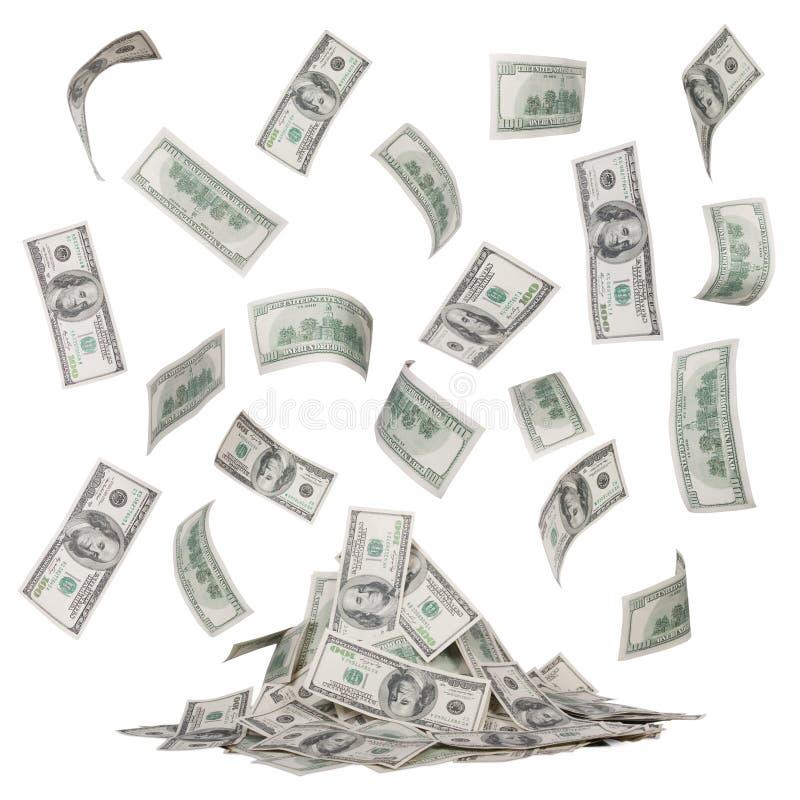 Regen van dollarrekeningen en een hoop van geïsoleerd geld royalty-vrije stock afbeeldingen