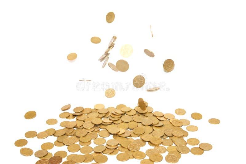 Regen van gouden muntstukken stock foto's