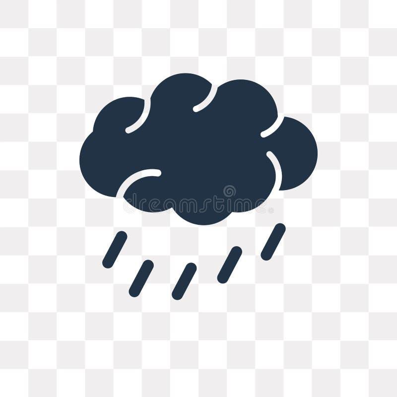 Regen vectordiepictogram op transparante achtergrond, Regen wordt geïsoleerd trans vector illustratie