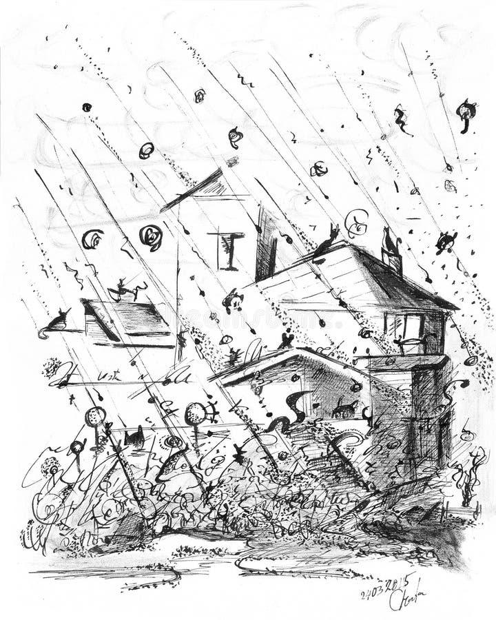 Regen von Katzen stock abbildung