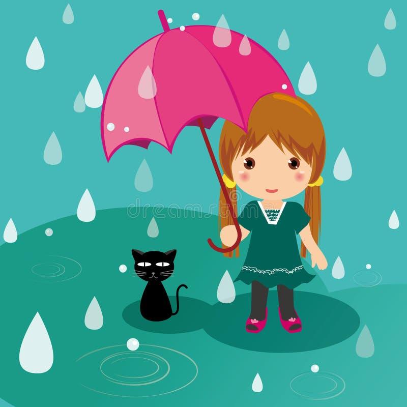 Regenachtig dagkat en meisje stock illustratie