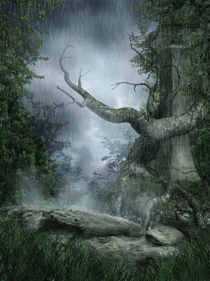 Regenachtig landschap met een boom stock illustratie
