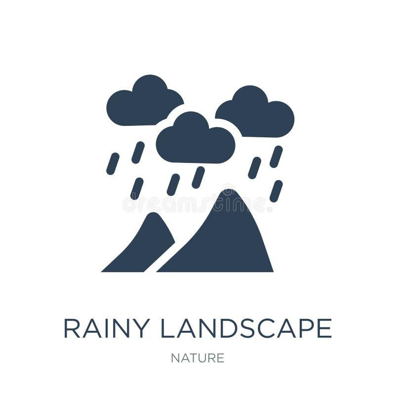 regenachtig landschapspictogram in in ontwerpstijl regenachtig die landschapspictogram op witte achtergrond wordt geïsoleerd rege stock illustratie