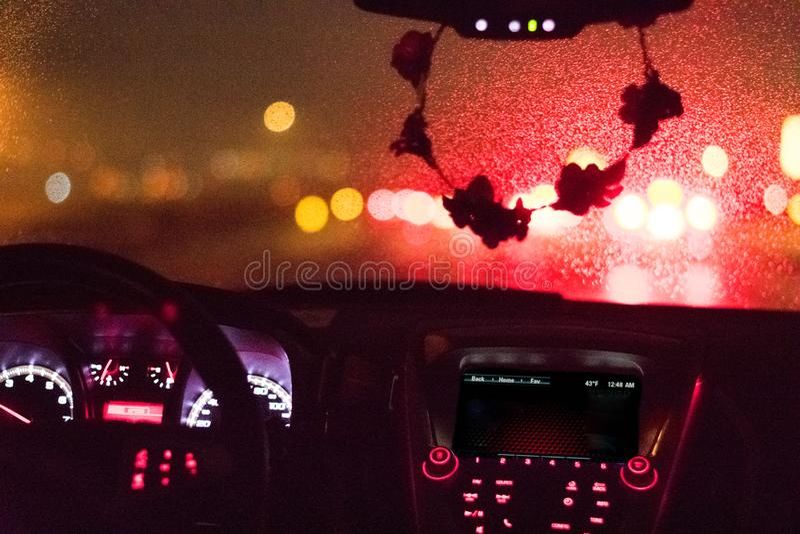 Regenachtig Windscherm en Dashboard royalty-vrije stock fotografie
