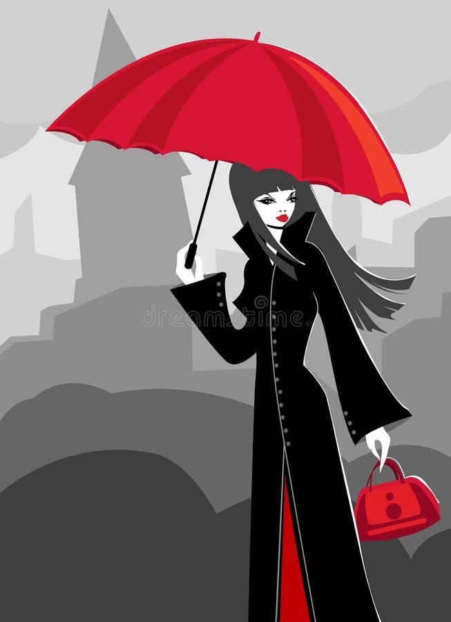 Regenachtige dag stock illustratie