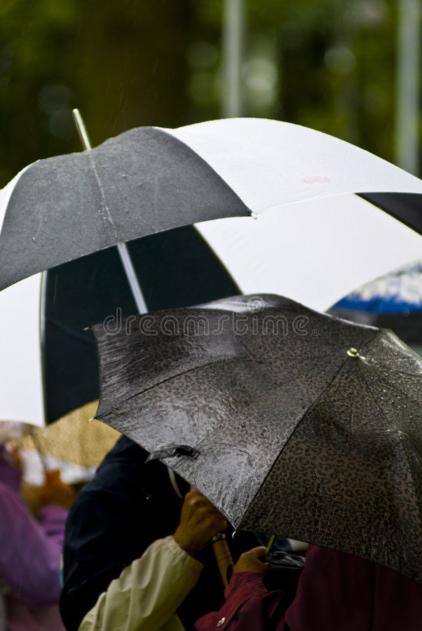 Regenachtige dagparaplu's royalty-vrije stock fotografie