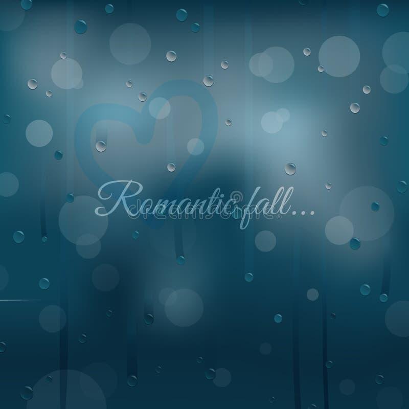Regenachtige de herfst romantische achtergrond royalty-vrije illustratie