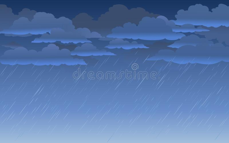 Regenachtige hemelachtergrond in beeldverhaalstijl Vector illustratie vector illustratie