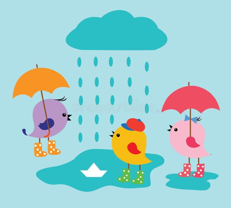 Regenachtige kleurenvogel vector illustratie