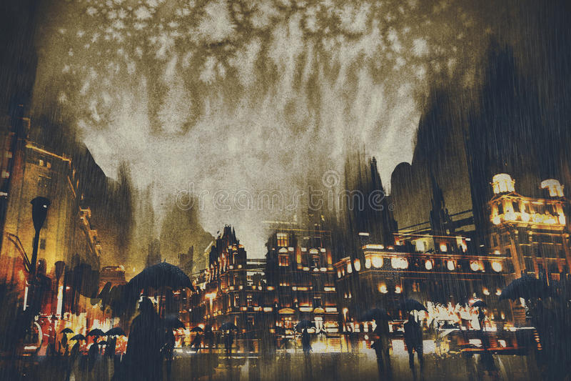 Regenachtige nacht, menigten van mensen die op straat lopen vector illustratie