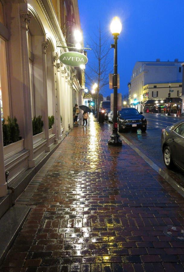 Regenachtige Straat in Georgetown stock afbeeldingen
