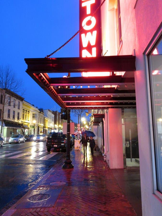 Regenachtige Straat in Georgetown van Washington DC stock afbeelding