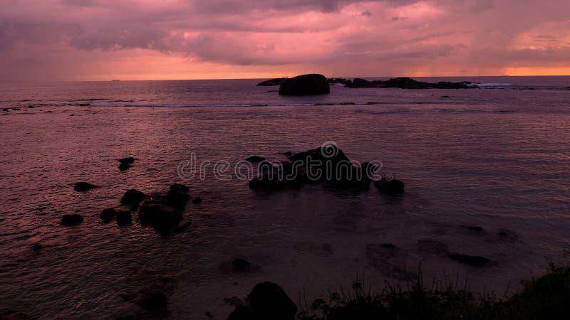 Regenachtige zonsondergang in Galle in Sri Lanka royalty-vrije stock foto