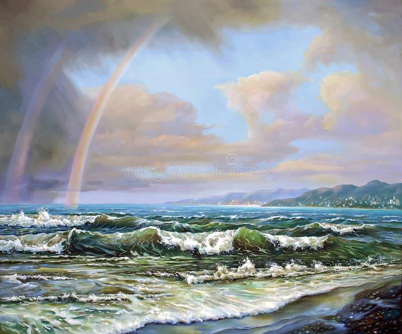 Regenbogen über dem Schwarzen Meer Autor: Nikolay Sivenkov stockfotos