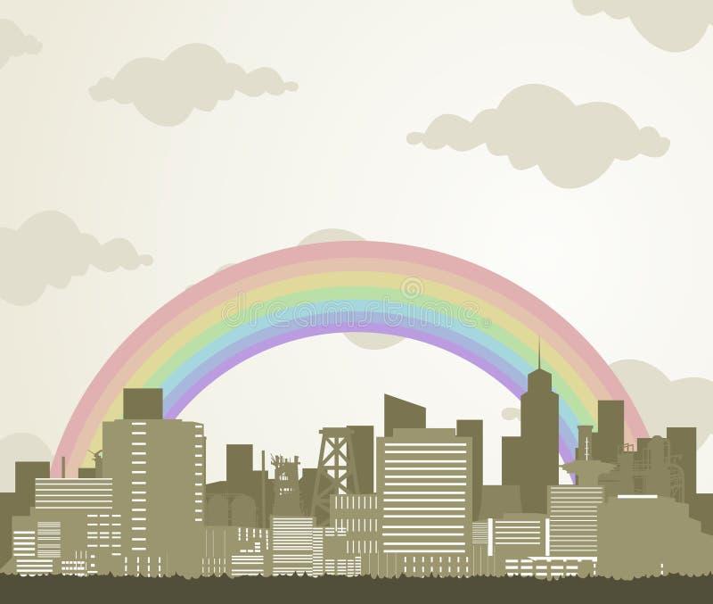Regenbogen über einer Stadt lizenzfreie abbildung