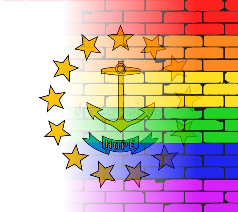 Regenbogen-Backsteinmauer Rhode Island State Flag lizenzfreie abbildung