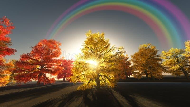 Regenbogen ?ber Herbstb?umen stock abbildung