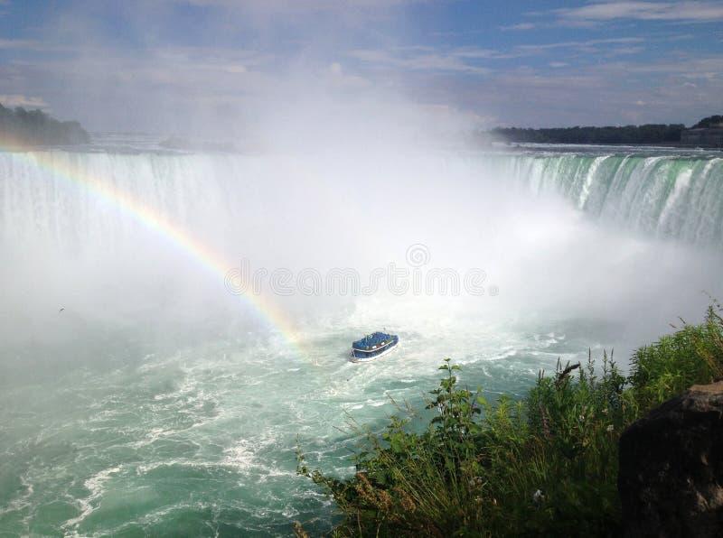 Regenbogen an den Hufeisenfällen, Niagara Falls lizenzfreies stockbild