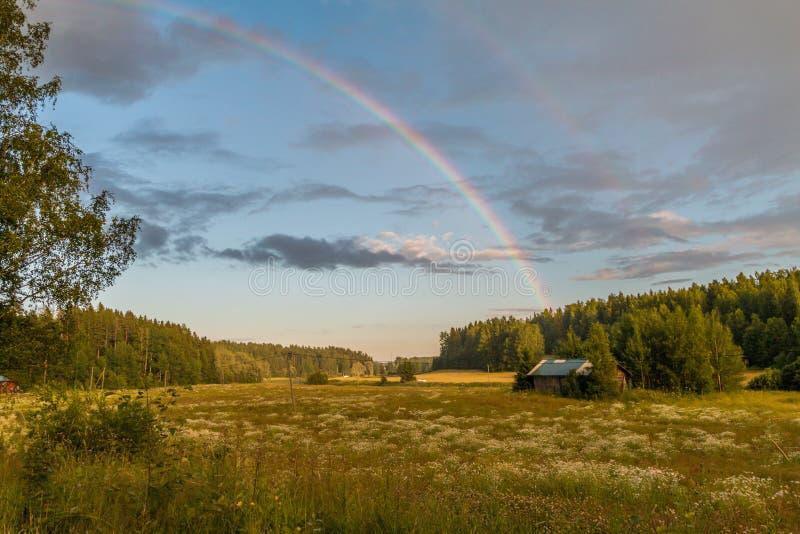 Regenbogen in den Wiesen stockfotografie