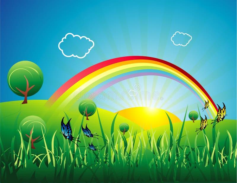 Regenbogen in einem Landschaftsvektor lizenzfreie abbildung