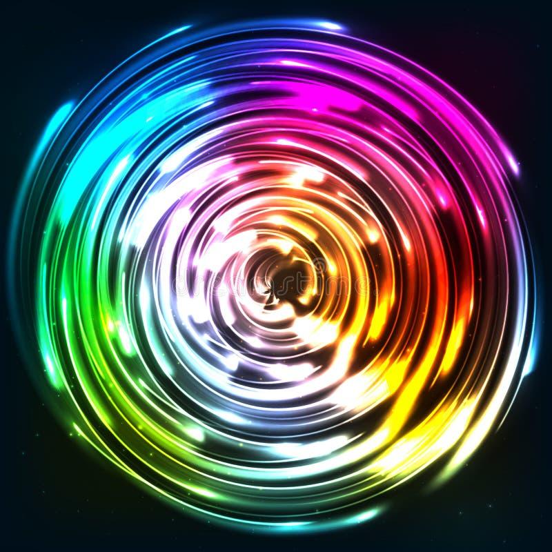 Regenbogen färbt glänzende Neonlichtdiskette stock abbildung