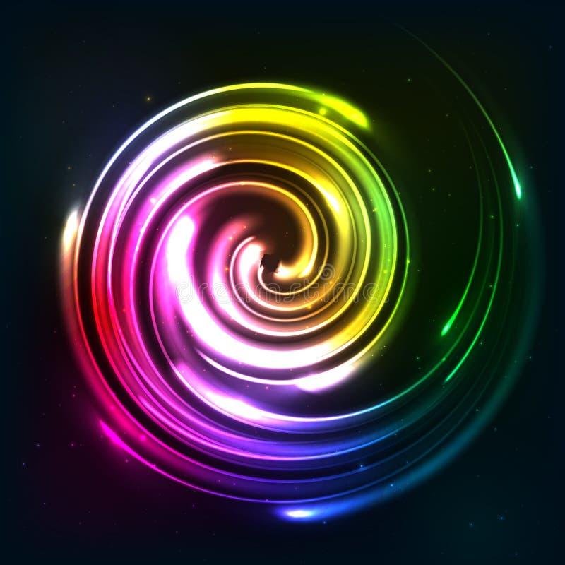 Regenbogen färbt glänzende Neonlichtrotation stock abbildung