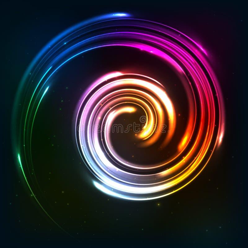 Regenbogen färbt glänzende Neonlichtrotation lizenzfreie abbildung