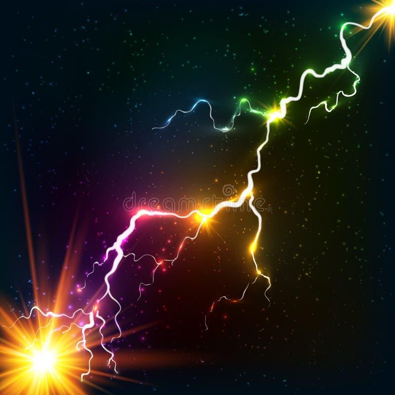 Regenbogen färbt glänzenden kosmischen Plasmablitz vektor abbildung