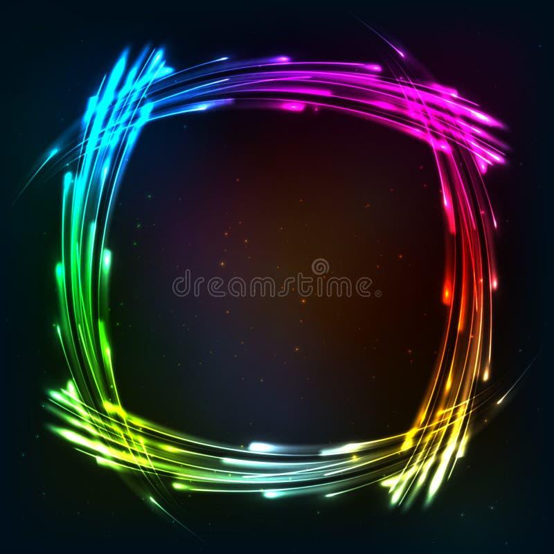 Regenbogen färbt glänzenden Neonlichtrahmen lizenzfreie abbildung