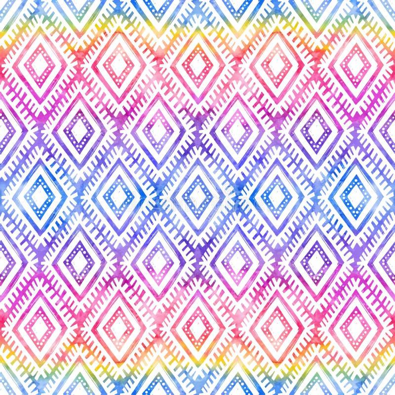 Regenbogen färbt Stammes- Verzierung auf nahtlosem Muster des weißen Vektors stock abbildung