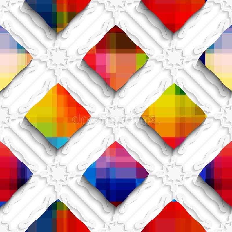 Regenbogen färbte Rechtecke auf nahtlosem Muster der weißen Verzierung stock abbildung