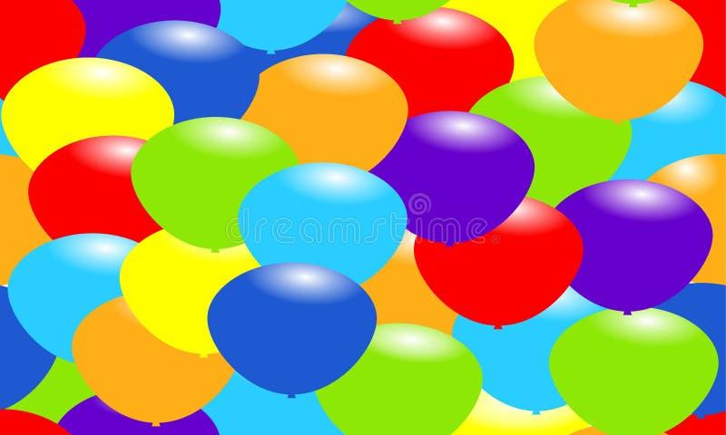 Regenbogen-Farbballone Glücklicher grüßender nahtloser Hintergrund Feiervektorillustration lizenzfreie abbildung