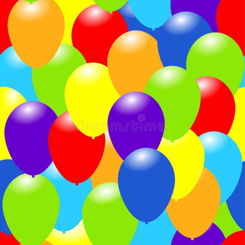 Regenbogen-Farbballone Glücklicher grüßender nahtloser Hintergrund Feiervektorillustration stock abbildung