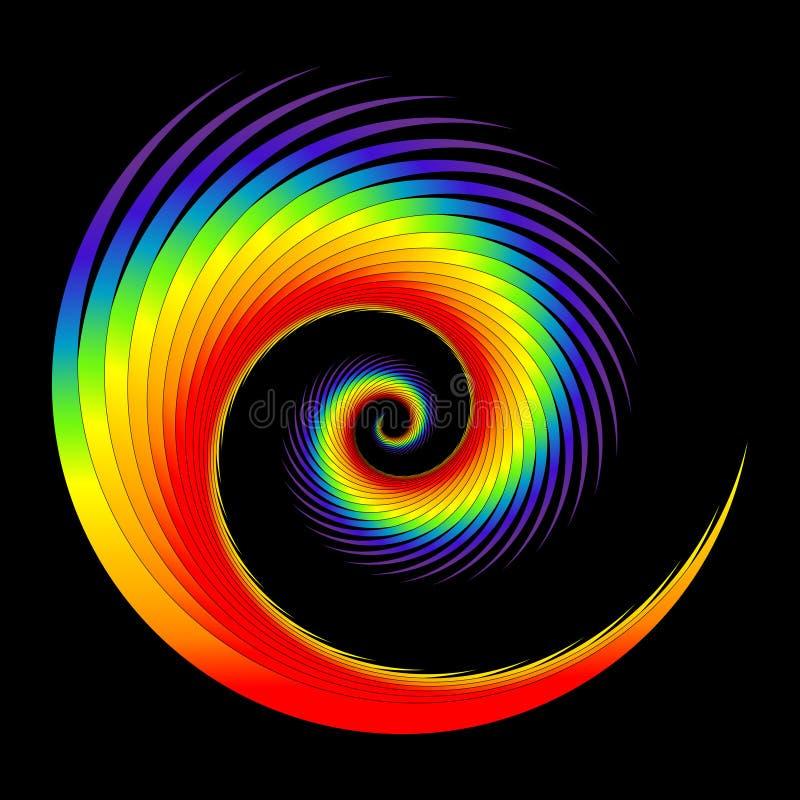 Regenbogen-Farben und gefiederte gewundene Form vektor abbildung