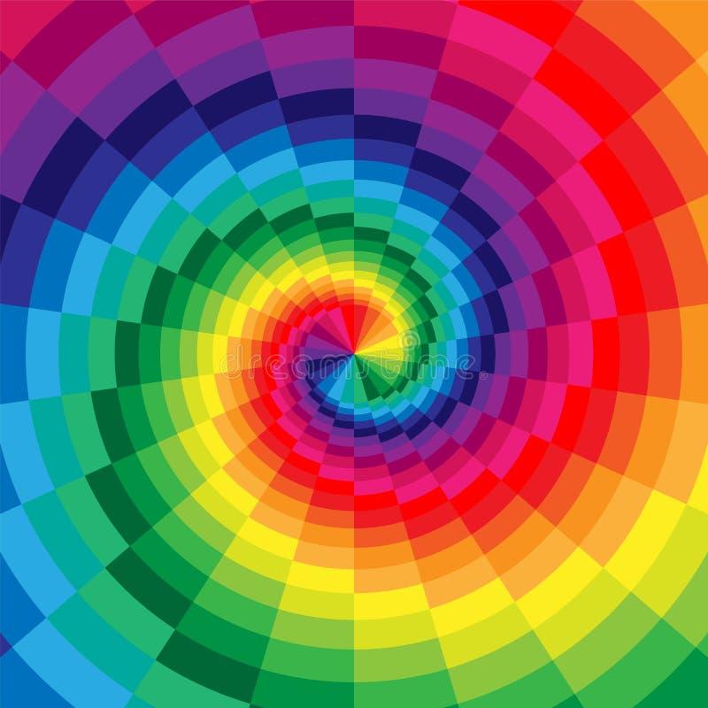 Regenbogen farbige Spiralen der Rechteck-Radialerweiterung von der Mitte Optische Täuschung der Tiefe und des Volumens vektor abbildung