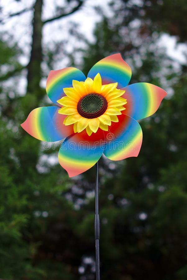 Regenbogen farbiges Feuerrad stockbilder